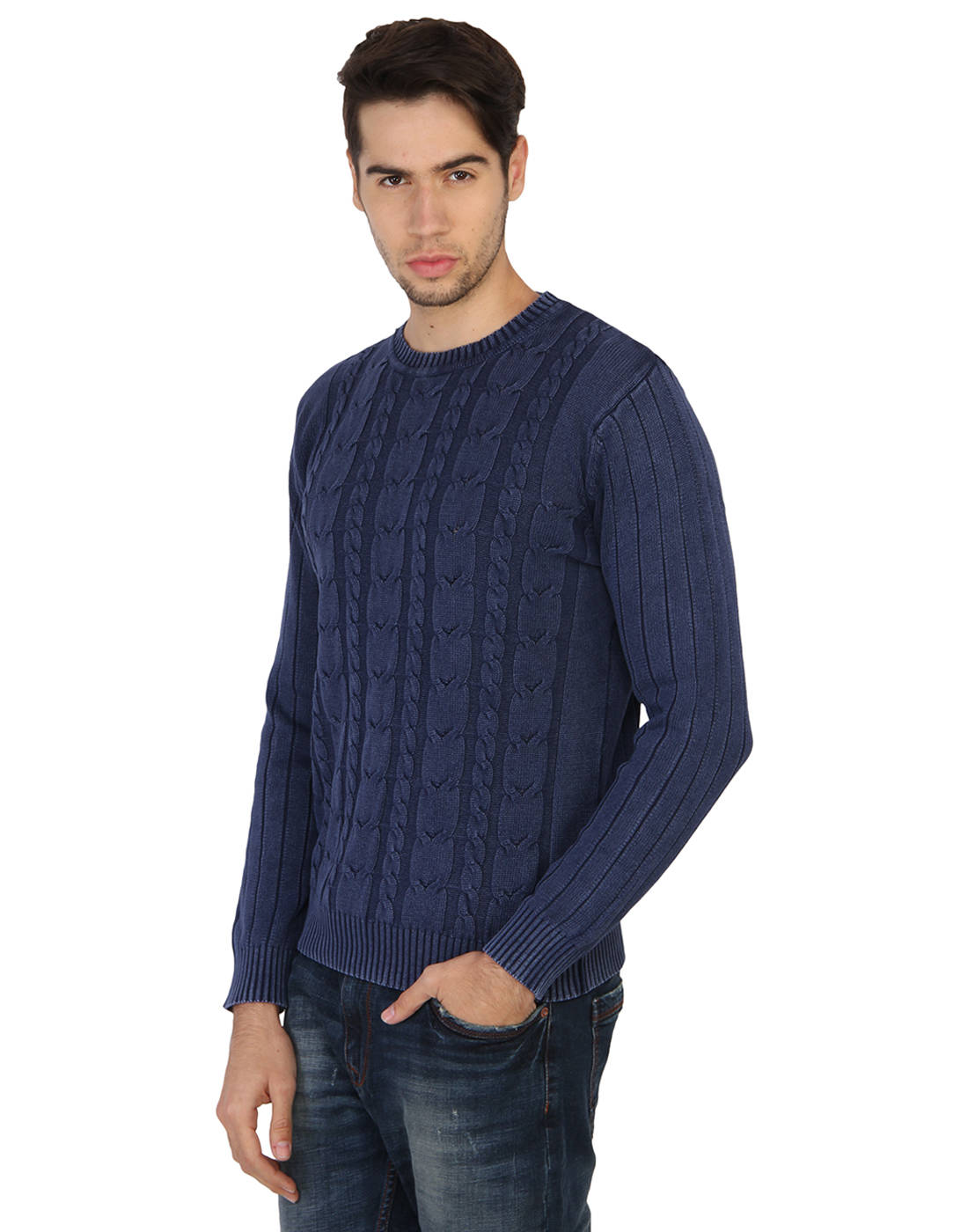 Human Men's Blue Striped Sweater