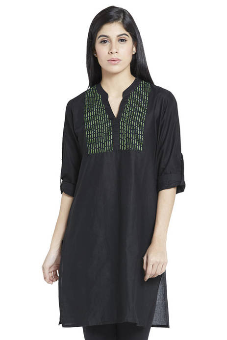Globus Black Cotton Kurti