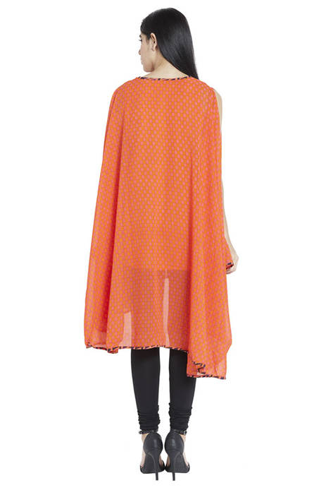 Globus Orange Polyester Kurti