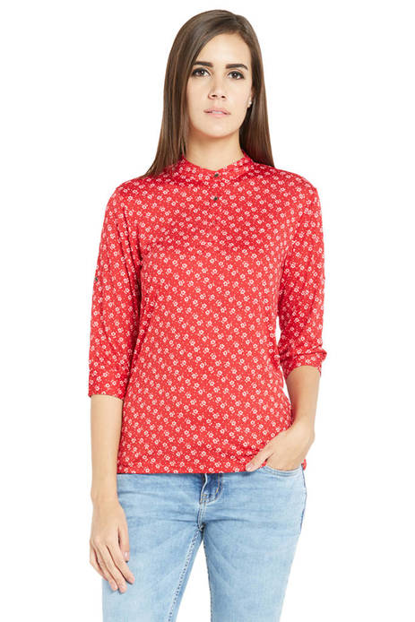 Globus Printed Red Knit Top