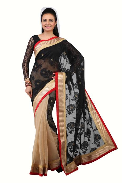 Jashn Red Supernet Saree