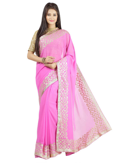Jashn Casual Solid Pink Saree