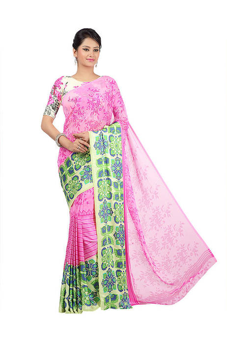 Jashn Printed Pink Party Saree
