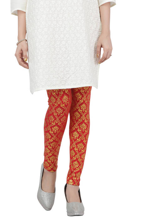 Jashn Party Printed Red Leggings