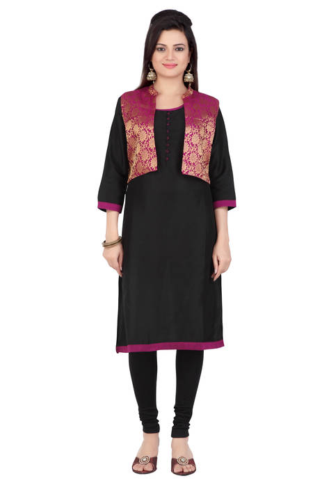 Jashn Black Party Cotton Kurti