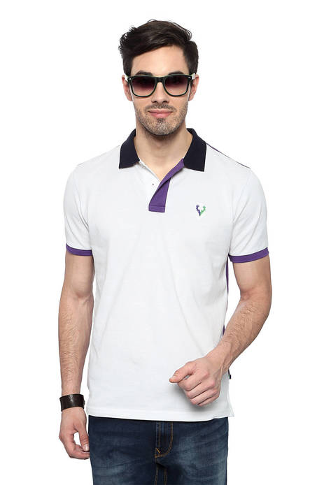 Allen Solly White Solid Half Sleeves Regular Fit T-Shirt