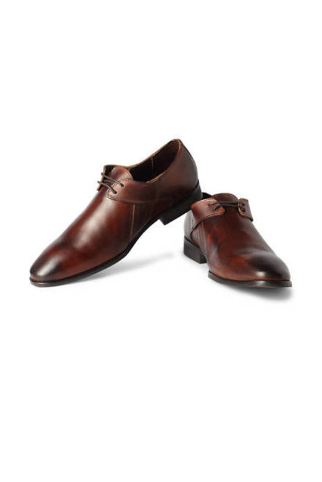 Van Heusen Brown Lace Up Leather Derby Shoes