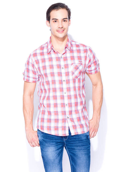 Mufti Pink Checkered Casual Cotton Shirt