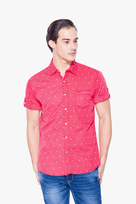 Mufti Red Printed Casual Shirt