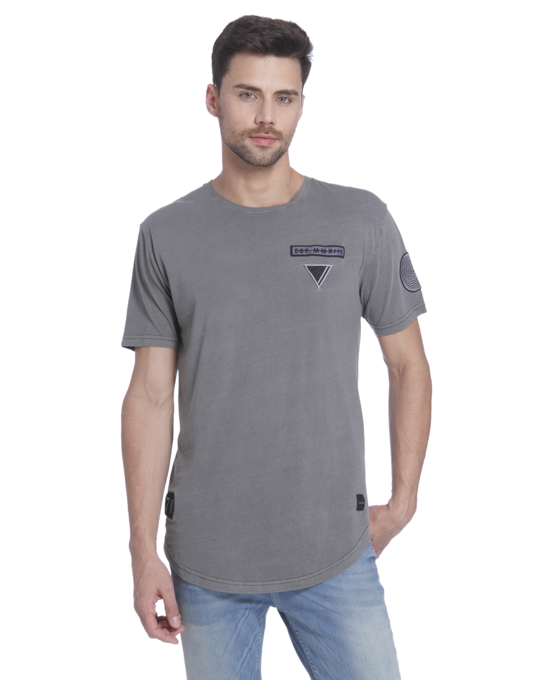 Only n Sons Men Grey T-shirt